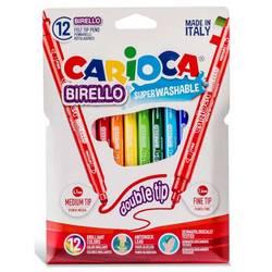 Фломастеры Carioca BIRELLO 42753 двусторонние 12цв.  картонный