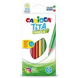 Карандаши цветные Carioca TITA 42786 трехгранные пластик 12цв. коробка, европод.