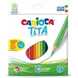 Карандаши цветные Carioca TITA 42794 шестигранные пластик 24цв. коробка, европод.