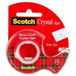Клейкая лента канцелярская 3M Scotch Crystal 7100093859 прозрачная шир.19мм дл.7.5м на мини-диспенсере