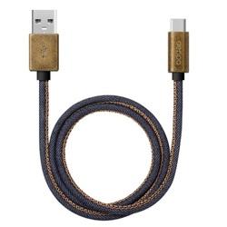 Дата-кабель USB-USB Type-C 1.2м (Deppa Jeans 72277) (синий)