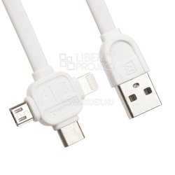"USB Дата-кабель ""REMAX"" 3 в 1 Apple 8 pin, Micro USB, USB Type C 1 м. (белый)"