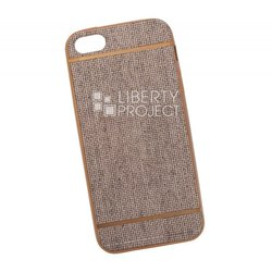Чехол-накладка для Apple iPhone 5, 5S, SE (Liberti Project 0L-00031823) (бежевый, золотая рамка)