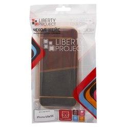 Чехол-накладка для Apple iPhone 5, 5s, SE (Liberti Project 0L-00031829) (коричневый, золотая рамка)