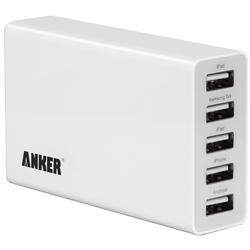 Универсальное сетевое зарядное устройство, адаптер 5хUSB, 5А (Anker A2134L21) (белый)