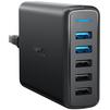 Универсальное сетевое зарядное устройство, адаптер 5хUSB, 2.4А (Anker A2054L11) (черный) - Сетевой адаптер 220v - USB, ПрикуривательСетевые адаптеры 220v - USB, Прикуриватель<br>Универсальное сетевое зарядное устройство, количество портов зарядки - 5, разъемы - USB, технология быстрой зарядки, Quick Charge 3.0, общая выходная мощность - 63 Вт.<br>