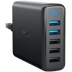 Универсальное сетевое зарядное устройство, адаптер 5хUSB, 2.4А (Anker A2054L11) (черный)