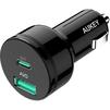 Универсальное автомобильное зарядное устройство, адаптер 2хUSB, 3A (Aukey СС-Y7) (черный) - Автомобильный адаптерАвтомобильные адаптеры 12v - USB<br>Два разъема USB для зарядки, порт USB-C Power Delivery 2.0, поддержка технологии AiPower, максимальная сила тока 3 А<br>