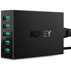 Универсальное сетевое зарядное устройство, адаптер 5хUSB, 10А (Aukey PA-U33) (черный)