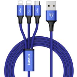 Кабель USB - 2хLightning, microUSB (Baseus Rapid Series 3-in-1 CAMLL-SU13) (темно-синий)