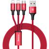 Кабель USB - 2хLightning, microUSB (Baseus Rapid Series 3-in-1 CAMLL-SU09) (красный) - Usb, hdmi кабель, переходникUSB-, HDMI-кабели, переходники<br>Синхронизация и заряд аккумулятора устройства, разъемы: USB и два коннектора Lightning плюс microUSB, длина 1.2м, тканевая оплетка.<br>