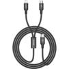 Кабель USB Type C - Lightning, microUSB (Baseus Rapid Series 2-in-1 CAMT-SU01) (черный) - Usb, hdmi кабельUSB-, HDMI-кабели, переходники<br>Синхронизация и заряд аккумулятора устройства, разъемы: USB Type C и Lightning плюс microUSB, длина 1.2м, тканевая оплетка.<br>