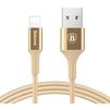 Кабель USB - Lightning для Apple iPhone 5, 5C, 5S, SE, 6, 6 plus, 6S, 6S Plus, 7, 7 Plus, iPad 4, Air, Air 2, Pro 9.7, Pro 12.9, PRO, mini 1, mini 2, mini 3, mini 4 (Baseus Shining Cable with Jet metal CALSY-0V) (золотистый) - Usb, hdmi кабельUSB-, HDMI-кабели, переходники<br>Предназначен для зарядки и синхронизации Apple-устройств с разъемом 8 pin. Разъемы: USB и Lightning. Длина кабеля 1 м, тканевая оплетка.<br>