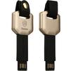 Кабель USB - Lightning для Apple iPhone 5, 5C, 5S, SE, 6, 6 plus, 6S, 6S Plus, 7, 7 Plus, iPad 4, Air, Air 2, Pro 9.7, Pro 12.9, PRO, mini 1, mini 2, mini 3, mini 4 (Baseus Toon series CAAPIPH6S-TNV1) (золотистый, черный) - Usb, hdmi кабельUSB-, HDMI-кабели, переходники<br>Кабель-брелок в форме ключа, предназначен для зарядки Apple-устройств с разъемом 8 pin. Разъемы: USB 2.0 и Lightning. Длина 7 см, крепление за кнопке.<br>