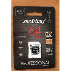 Карта памяти Smartbuy PRO microSDHC 64GB Class10 UHS-I(U3) + SD адаптер