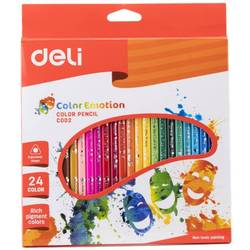 Карандаши цветные Deli Color Emotion EC00220 трехгранные липа 24цв. коробка, европод.