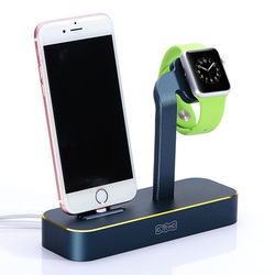 Док станция для Apple iPhone 5, 5C, 5S, SE, 6, 6 plus, 6S, 6S Plus, 7, 7 Plus, Apple Watch (COTEetCI Base Dock) (синий)