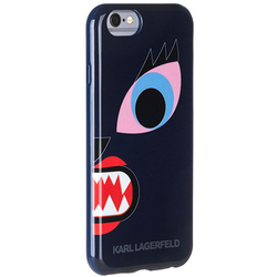 Чехол накладка для Apple iPhone 6, 6S (Lagerfeld Choupette Monster KLHCP6MCB) (синий)