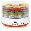 BBK BDH204D (бело-оранжевый) - Сушилка для овощей, фруктов, грибовЭлектросушилки для овощей, фруктов, грибов<br>5 поддонов, наличие вентилятора (фена), потребляемая мощность 240Вт, дисплей, электронное управление.<br>