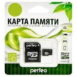 Perfeo microSDHC Class 4 4GB + SD adapter