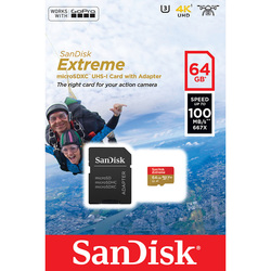 Sandisk Extreme microSDXC Class 10 UHS-I A1 64GB + SD адаптер (SDSQXAF-064G-GN6AA)