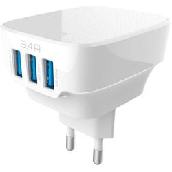 Универсальное сетевое зарядное устройство, адаптер 3хUSB, 3.4А (LDNIO AC65) (белый)