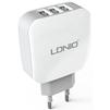 Универсальное сетевое зарядное устройство, адаптер 3хUSB, 3.4А (LDNIO AC70) (белый) - Сетевой адаптер 220v - USB, ПрикуривательСетевые адаптеры 220v - USB, Прикуриватель<br>Это сетевое зарядное устройство с тремя выходными разъемами USB тип A и максимальной силой тока  3.4 А.<br>