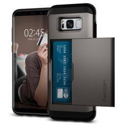 Чехол-накладка для Samsung Galaxy S8 (Spigen Slim Armor Card Slider 565CS21618) (стальной)