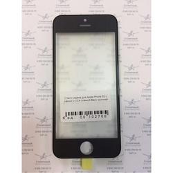 Стекло экрана для Apple iPhone 5S с рамкой и ОСА пленкой (102700) (черный) (1 категория Q)