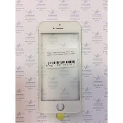 Стекло экрана для Apple iPhone 5S с рамкой и ОСА пленкой (102701) (белый) (1 категория Q)