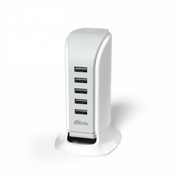 Универсальное сетевое зарядное устройство, адаптер 5хUSB, 5.8А (Ritmix RM-5055AC) (белый)