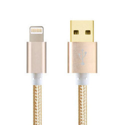 Кабель USB-Lightning для Apple iPhone 5, 5C, 5S, SE, 6, 6 plus, 6S, 6S Plus, 7, 7 Plus, iPad 4, Air, Air 2, Pro 9.7, Pro 12.9, PRO, mini 1, mini 2, mini 3, mini 4 (Ginnzu GC-555UG) (золотистый)