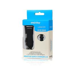 Автомобильное зарядное устройство Quick Charge 2.0, 2.1A (SmartBuy LANCER) (черный, серый)