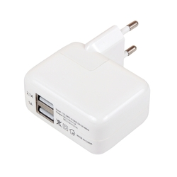 Универсальное сетевое зарядное устройство, адаптер 2хUSB, 2.1А (М0943804) (белый)
