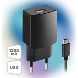 Сетевое зарядное устройство 1xUSB 1.2А + кабель microUSB (Ginzzu GA-3004B)