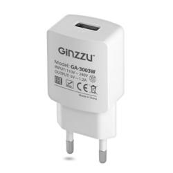 Универсальное сетевое зарядное устройство, адаптер 1хUSB, 1.2А (Ginzzu GA-3003W)