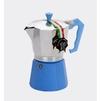 Кофеварка гейзерная GAT Lady Oro Color (6 чашек) (голубой) - Турка, кофеварка, кофемолкаТурки, кофеварки, кофемолки<br>GAT Lady Oro Color - кофеварка гейзерная, на 6 чашек, материал: пищевой алюминий, нижняя часть для приготовления кофе и ручка имеют цветное покрытие, для всех видов варочных панелей, кроме индукционных.<br>