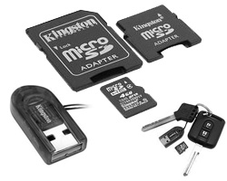 microsdhc 8gb + usb адаптер + 2 адаптера sd/minisd (kingston mbly/8gbir)