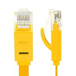 Патч-корд UTP кат. 6, RJ45 15м (Greenconnect GCR-LNC622-15.0m) (желтый)  - КабельСетевые аксессуары<br>Патч-корд, плоский, прямой, длина 15 м, UTP, медь, кат.6, позолоченные контакты, 30 AWG, 10 Гбит/с, RJ45, T568B.
