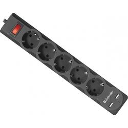 Сетевой фильтр 5 розеток, 2xUSB, 3м (Defender DFS 753) (черный) - Сетевой фильтрУдлинители и сетевые фильтры<br>Сетевой фильтр позволит подключить до 5 устройств. 2xUSB, 2.1А, длина кабеля 3м, с заземлением, защита от перегрузки и короткого замыкания, индикатор сети.