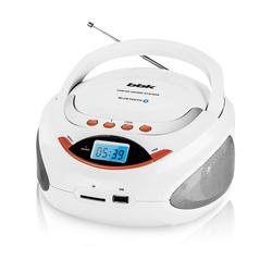 BBK BS09BT (белый, оранжевый) - МагнитолаМагнитолы<br>Аудиомагнитола BBK BS09BT, 3 Вт, MP3, FM (dig), USB, BT.