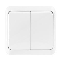 Выключатель 2-клавишный Юпитер (Smartbuy SBE-03w-10-SW2-0) (белый) - Розетка, выключатель, рамкаРозетки, выключатели и рамки<br>Выключатель 2-клавишный, 10 А, белый, серия quot;Юпитерquot;. Материал корпуса — термостойкий ABS-пластик.<br>Основание — из электробезопасного негорючего пластика. Контактные группы из латуни обеспечивают высокую<br>пропускную способность тока.