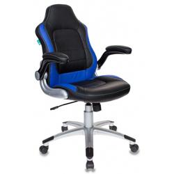 Кресло игровое Бюрократ VIKING-1/BL+BLUE - Стул офисный, компьютерныйКомпьютерные кресла<br>Регулировка высоты (газлифт), механизм качания с фиксацией в вертикальном положении, откидные подлокотники, ограничение по весу: 120 кг, материал обивки: искусственная кожа.