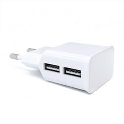 Универсальное сетевое зарядное устройство, адаптер 2хUSB, 2.1А + кабель 8pin Lightning (Red Line NT-2A YT000013637) (белый) - Сетевой адаптер 220v - USB, Прикуриватель