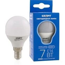 Светодиодная лампа СТАРТ LED Sphere E14 7W 4000К - ЛампочкаЛампочки<br>СТАРТ LED Sphere - лампа, светодиодная, цветовая температура 4000 К, свет холодный, энергосберегающая, мощность 7 Вт, цоколь E14, 500 лм, форма шар, матовая.
