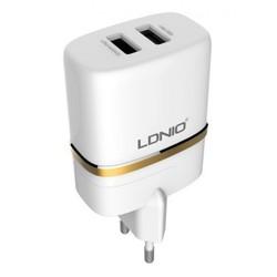 Сетевое зарядное устройство, адаптер 2хUSB, 2.4А (LDNIO DL-AC52) (белый) + кабель USB-Lightning  - Сетевое зарядное устройство