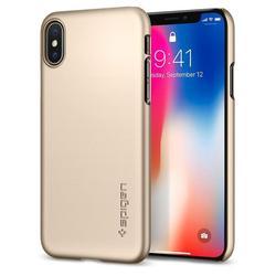 Чехол-накладка для Apple iPhone X (Spigen Thin Fit Series 057CS22111) (шампань) - Чехол для телефонаЧехлы для мобильных телефонов<br>Защитит смартфон от грязи, пыли, брызг и других внешних воздействий.