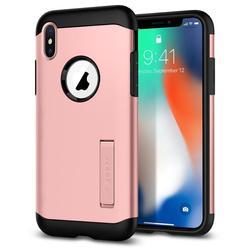 Чехол-накладка для Apple iPhone X (Spigen Slim Armor 057CS22139) (розовое золото) - Чехол для телефонаЧехлы для мобильных телефонов<br>Защитит смартфон от грязи, пыли, брызг и других внешних воздействий.