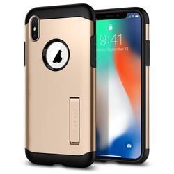 Чехол-накладка для Apple iPhone X (Spigen Slim Armor 057CS22136) (шампань) - Чехол для телефонаЧехлы для мобильных телефонов<br>Защитит смартфон от грязи, пыли, брызг и других внешних воздействий.
