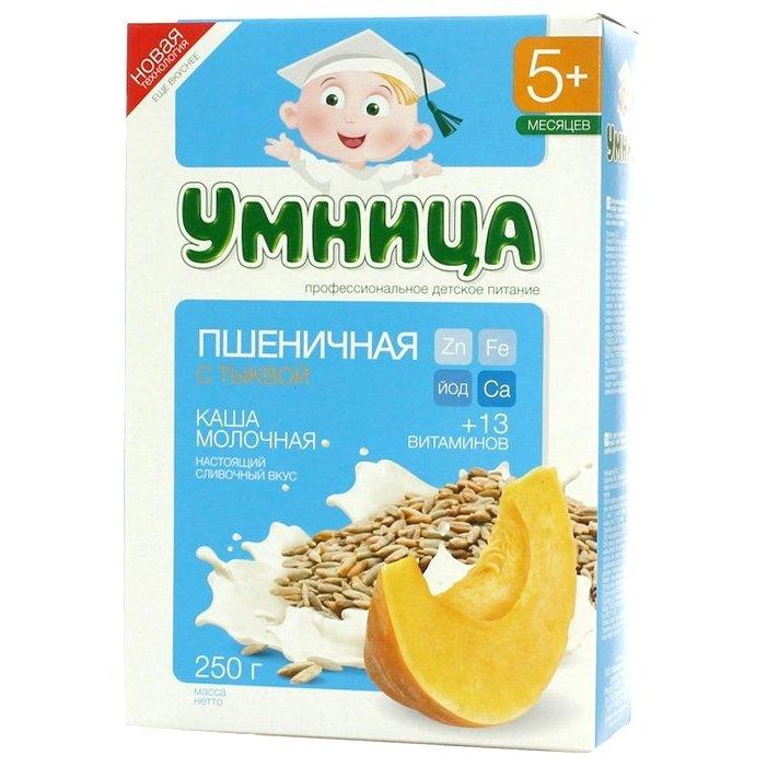 cddc7ed02ab23d РосТест - официальная гарантия производителя каша умница молочная пшеничная  с тыквой (с 5 месяцев) 250 г
